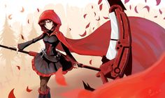 boots cross trees scythe skirts belts corset outdoors weapons jackets pantyhose short hair ammunition cloak hoodies purple eyes flower petals anime girls bangs black hair RWBY Ruby (RWBY) forest - Wallpaper (#2858335) / Wallbase.cc