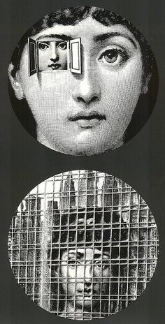 "Plate 116 (top) and 129 (bottom) from Piero Fornasetti's ""Theme and Variations"" series"