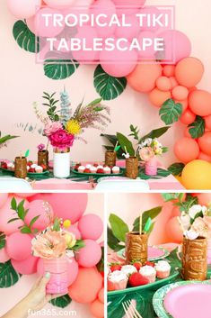 Create your own tropical escape this summer by styling this gorgeous tropical tiki tablescape! Kara from Kailo Chic shows you how simple this table is to set up. Hawaiian Birthday, Moana Birthday, Hawaiian Luau, 1st Birthday Girls, Hawaiian Theme, Birthday Stuff, Birthday Ideas, Tropical Bridal Showers, Tropical Party
