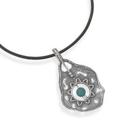 Simply Trendy Jewelry - Black Leather Sterling Silver Ornate Turquoise Pendant necklace, $63.95 (http://www.simplytrendyjewelry.com/black-leather-sterling-silver-ornate-turquoise-pendant-necklace/)