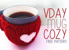 Valentine's Day Romantic Mug Cozy, Coffee Cozy, Drink Cozy (Free Crochet Pattern!)