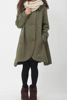 green cloak wool coat Hooded Cape women Winter wool coat by MaLieb