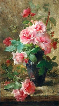 Still life with pink roses in a glass vase. ‍ Frans Mortelmans May 1865 – 11 April was a Belgian painter. Oil Painting App, Oil Painting Flowers, Watercolor Flowers, Watercolor Paintings, Rose In A Glass, Rosa Rose, Impressionist Paintings, Arte Floral, Anime Comics