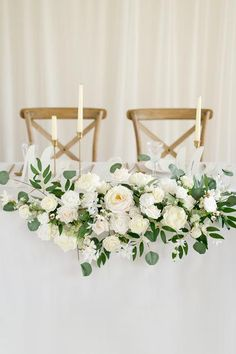 Flower Swag & Tablecloth Set for Sweetheart/Head Table - Natural Whites Wedding Table Flowers, Wedding Table Centerpieces, Floral Wedding, Sweet Heart Table Wedding, White Floral Centerpieces, White Wedding Bouquets, White Wedding Decorations, Wedding Head Tables, Table Decor Wedding