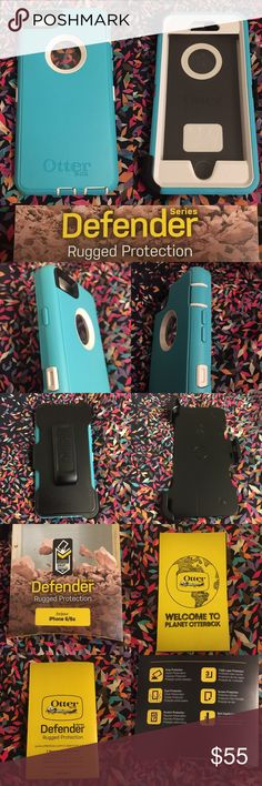 OtterBox Defender iPhone 6/6s Case, Seacrest Teal Robust, three-layer protective case with built-in screen protector works to prevent damage from drops, bumps, scratches, and shock. Scratch-resistant. Port covers keep out dust, debris, and moisture. Belt-clip holster included that doubles as a kickstand for hand-free media viewing. Otterbox Defenders are the best cases for heavy phone users and for those who are a bit clumsy/accident-prone (such as myself). Long-lasting, easy to clean, the…