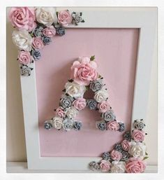 New ideas baby diy room ideas shower gifts Diy And Crafts, Paper Crafts, Room Crafts, Diy Bebe, Creation Deco, Floral Letters, Christening Gifts, Paper Flowers, Paper Dahlia