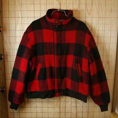 【Woolrich】USA製70'sビンテージ古着レッド×ブラック(赤×黒)バッファローチェックフルジップウールボアジャケット|メンズLサイズ