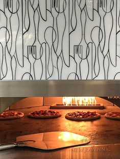 This custom commercial pizza oven features Forks Knives and Spoons, a handmade mosaic shown in Moonstone jewel glass from the Erin Adams Collection for New Ravenna. Mosaic Wall, Mosaic Glass, Ravenna Mosaics, New Ravenna, Pizza Art, Kitchen Images, Kitchen Ideas, Kitchen Design, Shower Floor Tile