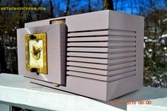 BLUETOOTH MP3 Ready - Lavender Taupe Mid Century Vintage 1948 Telechron Model 8H67 Tube AM Clock Radio Works Great!