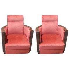 PAIR-FRENCH-ART-DECO-WALNUT-CLUB-CHAIRS-circa-1940s