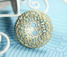 Foliage Filigree Metal Buttons , Brass White Color , Shank , 0.71 inch , 10 pcs on Etsy, $6.00