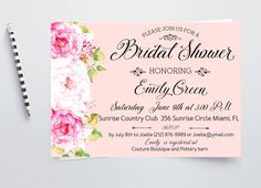 Romantic Bridal Shower Invitation Pink Printable by AlniPrints