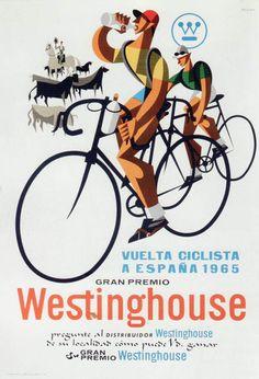 vuelta ciclista a españa 1965 f Velo Vintage, Vintage Cycles, Vintage Ads, Vintage Posters, Modern Posters, Pro Bike, Bike Illustration, Bike Poster, Biker