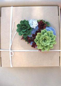 Felt Succulent Plant Sculpture by mirasole, handmade in Phoenix, AZ.