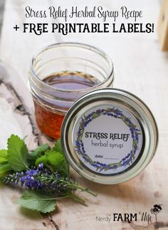 Stress Relief Herbal Syrup Recipe + Free Printable Labels