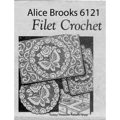 Alice Brooks Filet Crochet Butterfly and Scrolls Doily Scarf Pattern, a Mail Order Design Crochet Tablecloth Pattern, Crochet Doily Patterns, Crochet Designs, Crochet Doilies, Crochet Leaves, Thread Crochet, Filet Crochet, Crochet Hooks, Knit Crochet