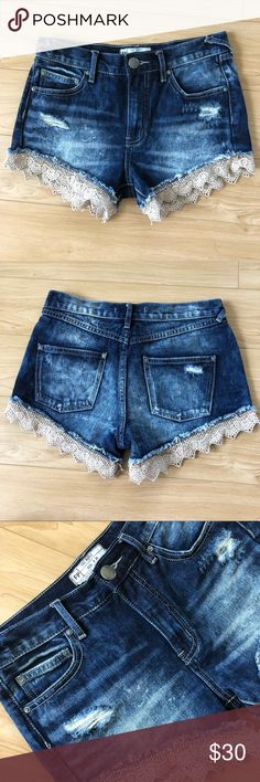 802356a922 Free People Lace High Waist Destroyed Shorts Free People Crochet Lace Trim  High Waisted Destroyed Denim