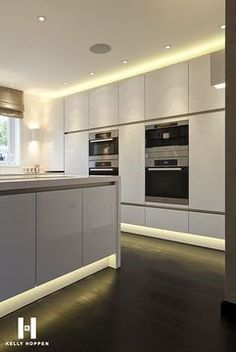 Did you know we're specialists at #LED #light #installations?  #Kitchen #White #Silver #Metallic #Design #Inspiration  #InteriorDesign #StJamesDesign
