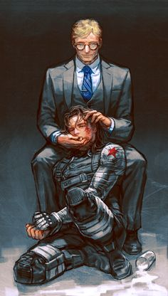 - Dressed in a suit with a brutal passions snakes. - Captain America: The Winter Soldier (Alexander pierce, Bucky)