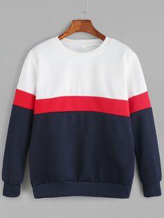 Color Block Long Sleeve Sweatshirt — 0.00 € ---------------------color: White size: L,M,XL