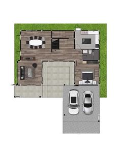 With much dedication on the design of this Four Bedroom Two Storey House, most of the wall are painted with white, combined with dark brown color accents. Color Accents, Accent Colors, Garage House, Car Garage, Two Story House Plans, Two Storey House, Brown Paint, Dark Brown Color, Ground Floor Plan