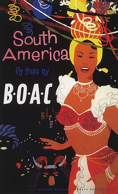 America Sul Carnaval Brasil Vintage Poster