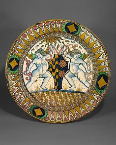 Dish (piatto) (c.1510), Italy. Tin-glazed earthenware (maiolica), 17.125 in. diameter. via the Met, NYC