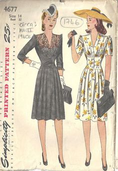 1940s WW2 Vintage Sewing Pattern B32 DRESS 1746 by tvpstore 25.60$