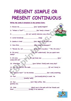 Present Simple Vs Present Continuous. - ESL worksheet by socks English Grammar Tenses, Teaching English Grammar, English Verbs, English Writing Skills, English Language Learning, English Vocabulary, English Worksheets For Kids, English Lessons For Kids, English Activities