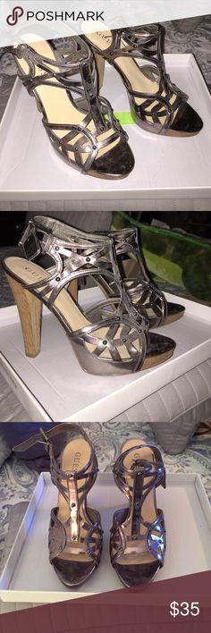 GUESS Metallic Cut Out Heel GUESS Metallic Cut Out Heel - Gunmetal color, Wooden heel GUESS Shoes Heels