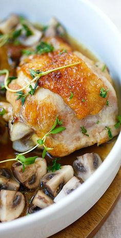 Chicken with Sauteed Mushroom – one-pan chicken with mushroom, all cooked in a pan with wine & chicken broth. So easy, delicious & budget friendly | rasamalaysia.com