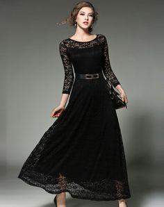 #AdoreWe FWAYSBY Black Lace Yoke Crochet Belted A-line Maxi Dress - AdoreWe.com