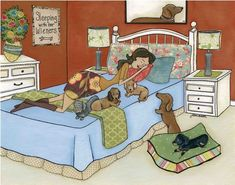 Sleeping With Her Wieners ~ Jamie Morath Art mixed media, bed, bedroom, decor, orange walls, blue comforter, white dresser, dog, dogs, dog bed, stripes, polka dots, white bed, humor, funny, sleeping, wiener dog, doxie, dachshund