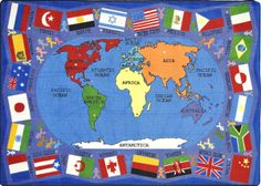 Flags of the World Kids Rug in Multi Color x - Joy Carpets can locate the seven continents and major oceans represented on this stunning carpet with a global view of the world map. Flags represent countries from each continent, Major Oceans, Kid Essentials, Wooden Wall Panels, Kids Class, Kids Play Area, Flags Of The World, Cool Rugs, Oriental Trading, Finding Joy