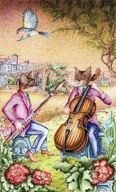 """Sonate Italienne, painting,  ©2013 par Bernard Vercruyce -  Peinture. Aquarelle gouachée 2013 pour l' Affiche du """"Summer Music Festival"""" Colorado - USA. de 2014."""