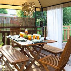 Plan for privacy with sheer curtains! More tips here: http://www.bhg.com/home-improvement/deck/ideas/deck-makeovers/?socsrc=bhgpin073114planforprivacy&page=11