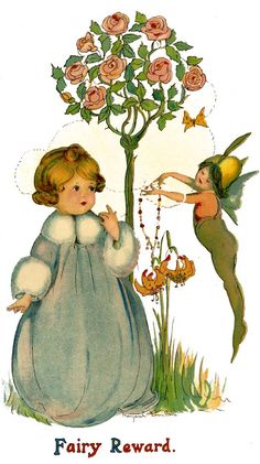 Use illustrations from out-of-copyright books as nursery décor.  Print & frame, or create a mural.  This pic is from Betty Fairy Book