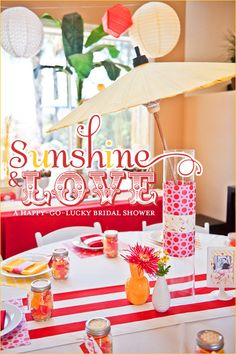 Bridal shower with vintage signs and bright colors.. Lots of ideas!
