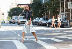 Express Windowpane Checked Blazer Keepsake Checked Crop Top Cameo Striped Midi Skirt Oscar Tiye Malikah Sandals Benedetta Bruzziches gold clutch Oliver Peoples Sofee Mirrored Sunglasses www.songofstyle.com