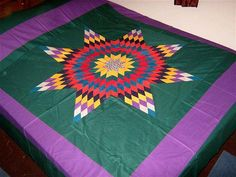 Amish Style Lone Star, Handmads Patchwork - QUILT TOP-