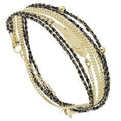 Bracelet plume multi-tour (noir et doré) - Bijoux Fantaisie Créateurs
