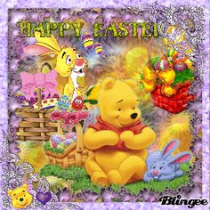 Cute Winnie The Pooh, Winnie The Pooh Quotes, Winnie The Pooh Friends, Happy Easter Gif, Good Day Images, Love Heart Gif, Garfield And Odie, Easter Wishes, Easter Pictures