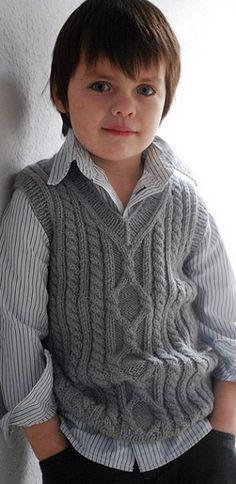 """Knitting Patterns Boy Ravelry: Pembroke Vest pattern by Kirsten Kapur"", ""I'm afraid the Petite Purls website has shut down and t Baby Boy Knitting Patterns, Knitting For Kids, Baby Patterns, Knitting Projects, Crochet Vest Pattern, Knit Crochet, Free Pattern, Crochet Hooks, Crochet Baby"