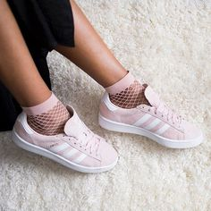 RG: sporting the Campus in pink. these straight from our bio Classic Sneakers, Casual Sneakers, Asos Fashion, Pink Fashion, Fashion Women, Espadrilles, Classy Outfits For Women, Outfits Kombinieren, Adidas Campus