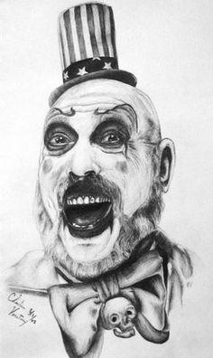 Captain Spaulding by GodfatherChide on DeviantArt Clown Horror Movie, Horror Movie Characters, Horror Movies, Movie Tattoos, Time Tattoos, Horror Tattoos, Leg Tattoos, Evil Clowns, Scary Clowns