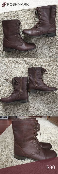 NWOT Reddish Brown Combat Boots NWOT. SIZE 6.5. True to size. Never worn outside. Only tried on inside. Reddish brown color. Laces. Zipper closure. No scuffs, stains, or tears. OFFERS ARE WELCOMED 😊 Rampage Shoes Combat & Moto Boots