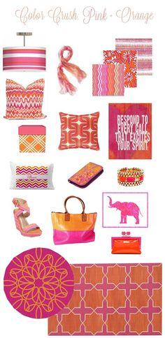 pink and orange color crush - my favorite colors for Spring! (via Centsational Girl) Orange Rooms, Bedroom Orange, Color Combos, Color Schemes, Orange Interior, Big Girl Rooms, Girls Bedroom, Bedroom Ideas, Bedrooms