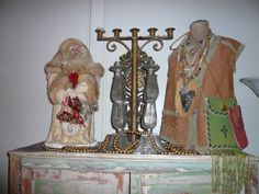 Father Christmas, antique candlelabra, tin candlesticks, tin church piece and collection of western artefacts!