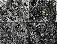 """Massimiliano Fabbri """"Cruel nature has won again"""" 2014 grafite, carboncino, pastello a olio, penna biro, china, bomboletta spray, matita bianca e collage su carta, cm 140x200"""