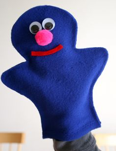 Sesame Street Grover Puppet Craft .. need felt, googly eyes, pompom, and hot glue gun